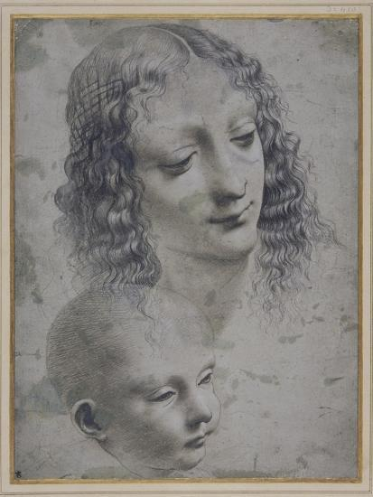 The Head of a Woman and the Head of a Baby-Leonardo da Vinci-Giclee Print