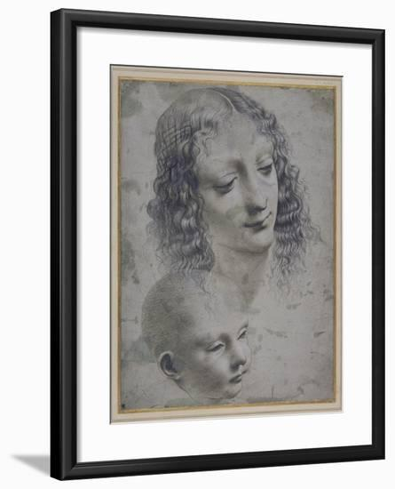 The Head of a Woman and the Head of a Baby-Leonardo da Vinci-Framed Giclee Print