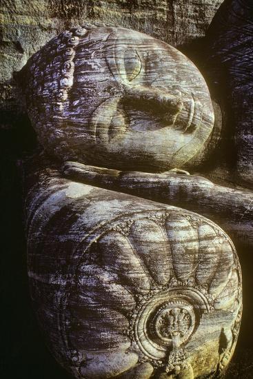 The Head of the Gal Vihara Reclining Buddha Statue at Polonnaruwa, Sri Lanka-David Hiser-Photographic Print