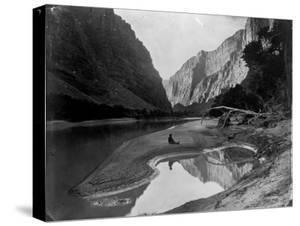 The Heart of Lodore, Green River, Shows Frederick S. Dellenbaugh Sitting Alone