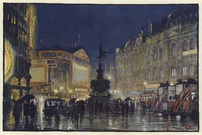 The Heart of the Empire, an Impression of Piccadilly Circus at Dusk-Donald Maxwell-Giclee Print