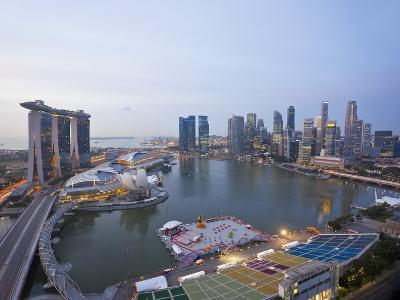 The Helix Bridge and Marina Bay Sands, Elevated View over Singapore, Marina Bay, Singapore-Gavin Hellier-Photographic Print