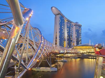 The Helix Bridge and Marina Bay Sands, Marina Bay, Singapore, Southeast Asia, Asia-Gavin Hellier-Photographic Print