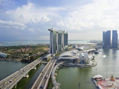 The Helix Bridge and Marina Bay Sands Singapore, Marina Bay, Singapore, Southeast Asia, Asia-Gavin Hellier-Photographic Print