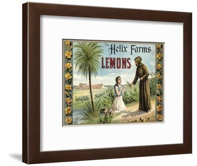 The Helix Farms Brand - California - Citrus Crate Label-Lantern Press-Framed Art Print