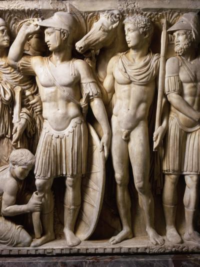 The Hero Achilles Putting on his Armour, Achilles at Court of King Lycomedes, Marble Sarcophagus--Photographic Print