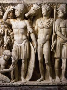 The Hero Achilles Putting on his Armour, Achilles at Court of King Lycomedes, Marble Sarcophagus
