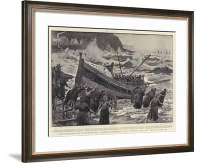 The Heroines of Runswick Bay, Women Launching the Lifeboat to Save their Husbands-Joseph Nash-Framed Giclee Print
