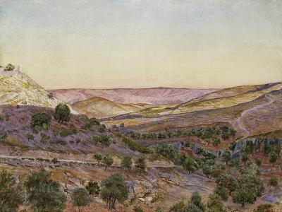 The Hills of Moab and the Valley of Hinnom, 1854 (Watercolour and Bodycolour)-Thomas Seddon-Giclee Print