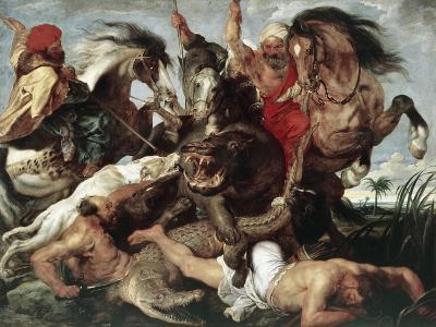 The Hippo Hunt-Peter Paul Rubens-Giclee Print