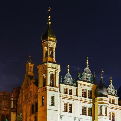 The Historic Schwerin Palace at Night-Babak Tafreshi-Photographic Print