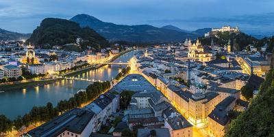 The Hohensalzburg Fortress, Church and Cathedral, at Dusk, Salzburg, Austria-Peter Adams-Photographic Print