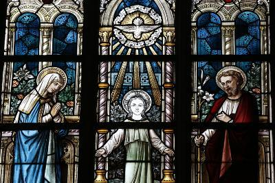 The Holy Family Depicted in a Stained Glass Window-Godong-Photographic Print