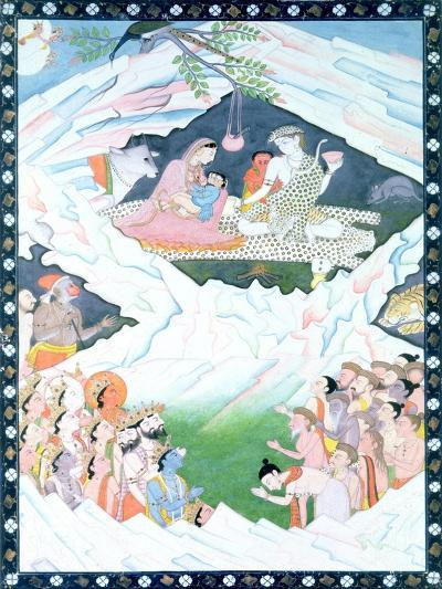 The Holy Family of Shiva and Parvati on Mount Kailash--Giclee Print