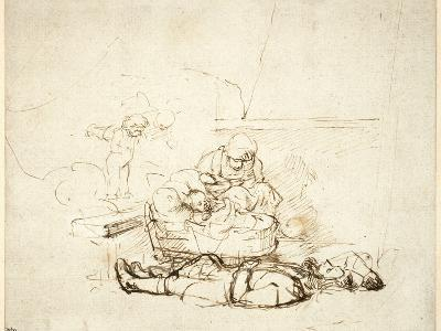 The Holy Family Sleeping, with Angels, 1645-Rembrandt van Rijn-Giclee Print