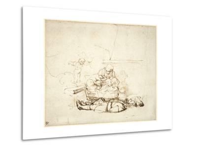 The Holy Family Sleeping, with Angels, 1645-Rembrandt van Rijn-Metal Print