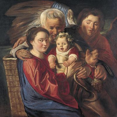 The Holy Family with an Angel-Jacob Jordaens-Giclee Print