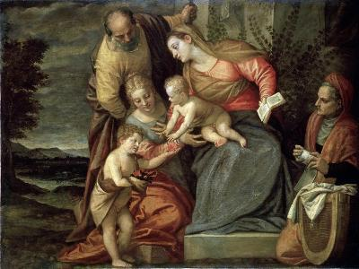 The Holy Family with Saints Catherine, Anne and John the Baptist, C1580-C1582-Benedetto Caliari-Giclee Print