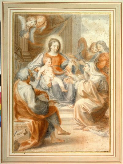 The Holy Family with St. Anne, Attended by Angels and Cherubim- Pietro da Pietri-Giclee Print