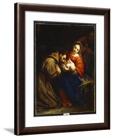 The Holy Family with St. Francis, 1665-Jacob Van Oost-Framed Giclee Print