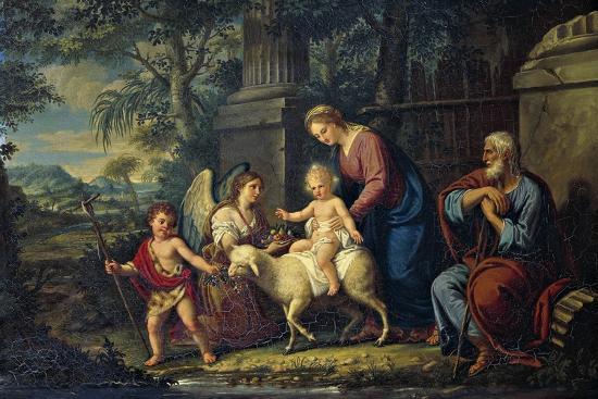 The Holy Family with St John the Baptist, Lattanzio Querena--Giclee Print