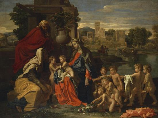 The Holy Family with the Infant Saint John the Baptist and Saint Elizabeth, and with Six Putti…-Nicolas Poussin-Giclee Print