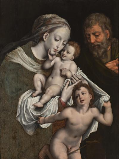 The Holy Family with the Infant St John-Cornelis van Cleve-Giclee Print