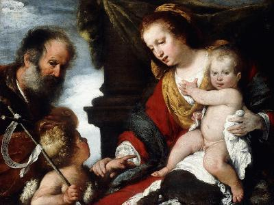 The Holy Family with the Infant St-Bernardo Strozzi-Giclee Print