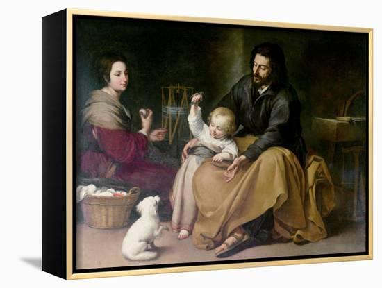 The Holy Family with the Little Bird, circa 1650-Bartolome Esteban Murillo-Framed Canvas Print