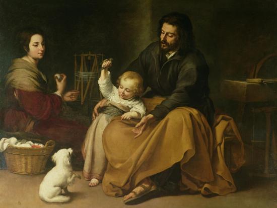 The Holy Family with the Little Bird, circa 1650-Bartolome Esteban Murillo-Giclee Print