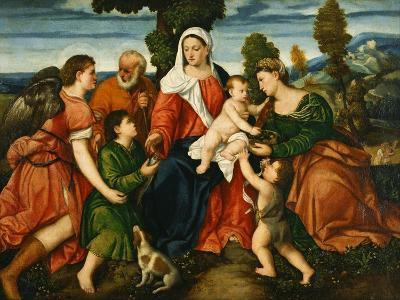 The Holy Family with Tobias and the Angel, Saint Dorothy-Bonifacio Veronese-Giclee Print