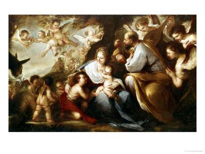The Holy Family-Luca Giordano-Giclee Print