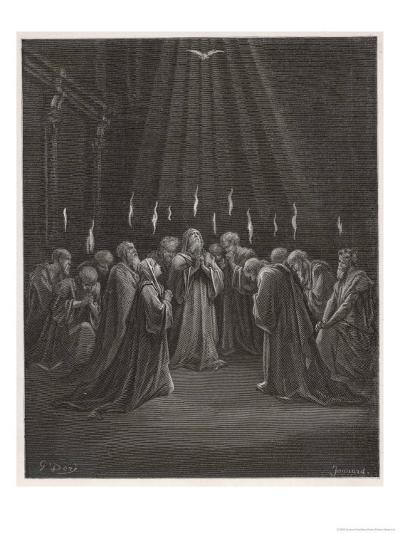 The Holy Spirit Descends on the Apostles and Their Associates with the Gift of Tongues-Gustave Dor?-Giclee Print