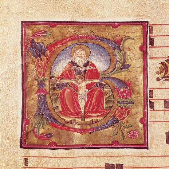 The Holy Trinity, Miniature by Reginaldo Piramo from Choral, Latin Manuscript 16th Century--Giclee Print