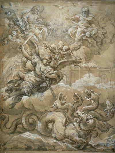 The Holy Trinity with Saint Michael Conquering the Dragon, 1666-Pietro da Cortona-Giclee Print