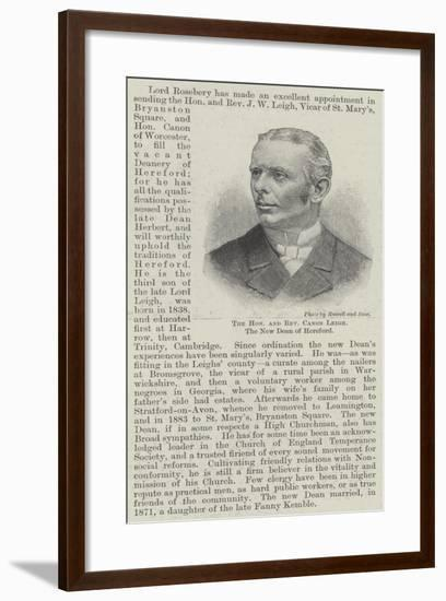 The Honourable and Reverend Canon Leigh, the New Dean of Hereford--Framed Giclee Print