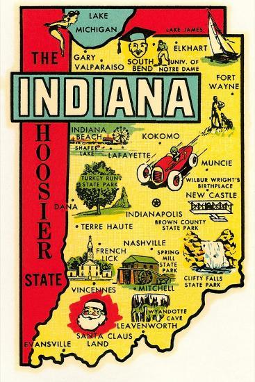 The Hoosier State Map--Art Print