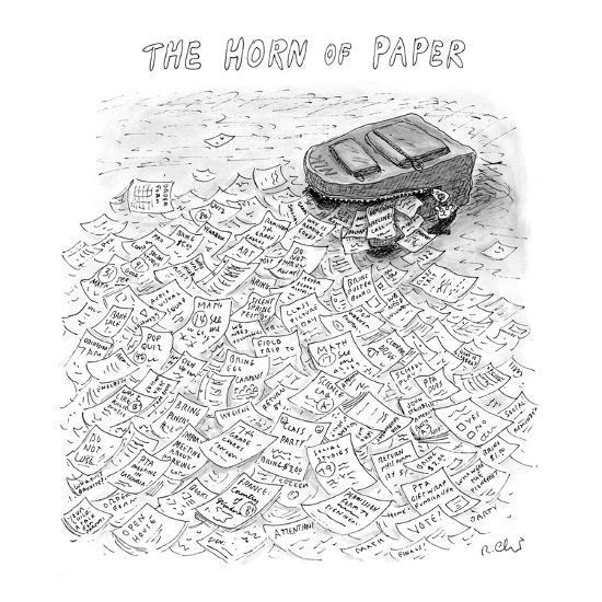 The Horn of Paper - New Yorker Cartoon-Roz Chast-Premium Giclee Print
