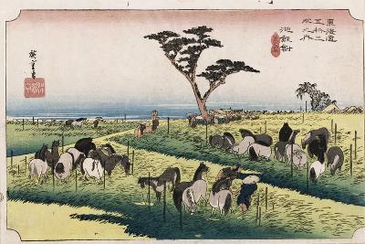 The Horse Market in the Fourth Month at Chiryu'-Utagawa Hiroshige-Giclee Print