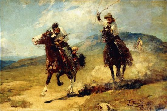 The Horse Thief, 1925-Frank Tenney Johnson-Giclee Print