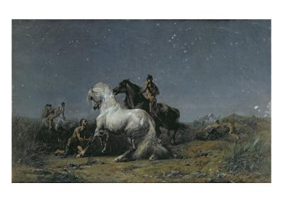 The Horse Thieves-Eugene Delacroix-Giclee Print