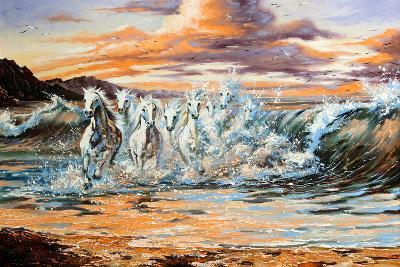 The Horses Running From Waves-balaikin2009-Art Print