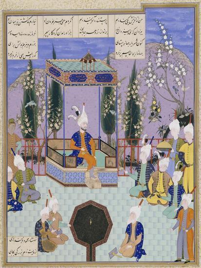 The Houghton Shahnameh: Folio 513v, an Aging Firdowsi Eulogizes Sultan Mahmud--Giclee Print