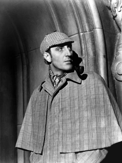 THE HOUND OF THE BASKERVILLES, 1939 directed by SIDNEY LANFIELD. Basil Rathbone (b/w photo)--Photo