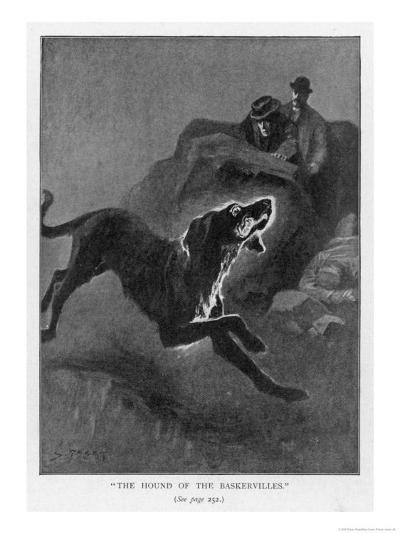 The Hound of the Baskervilles Holmes and Watson Watch the Fearful Hound-Sidney Paget-Giclee Print