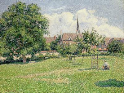 The House of the Deaf Woman and the Belfry at Eragny, 1886-Camille Pissarro-Giclee Print
