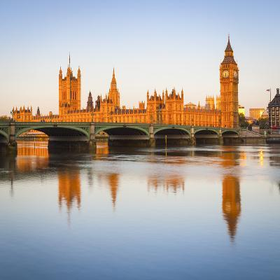 The Houses of Parliament and the River Thames Illuminated at Sunrise.-Doug Pearson-Photographic Print