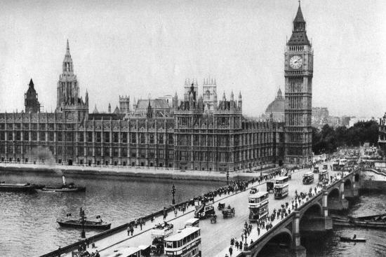 The Houses of Parliament and Westminster Bridge, London, 1926-1927--Giclee Print