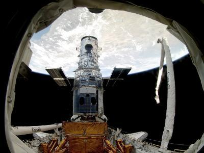 The Hubble Space Telescope, Locked Down in the Cargo Bay of Space Shuttle Atlantis--Photographic Print