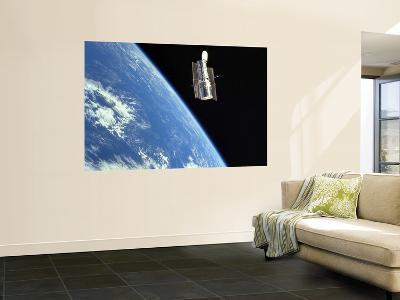 The Hubble Space Telescope with a Blue Earth in the Background--Wall Mural